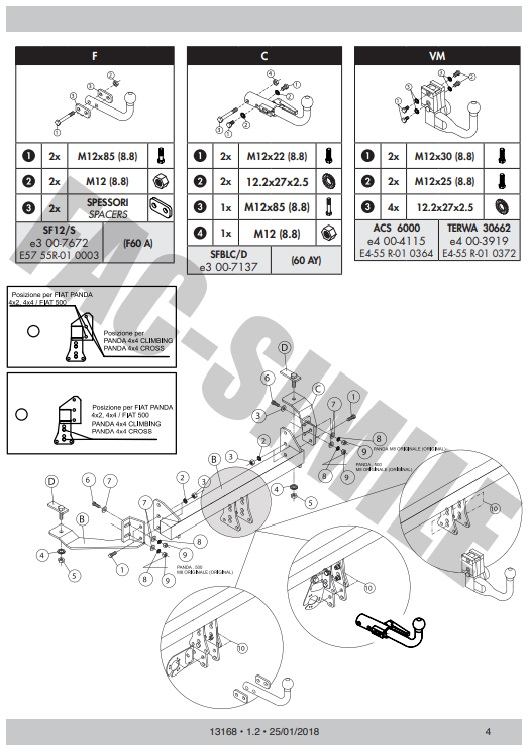 fiat ducato towbar fitting instructions