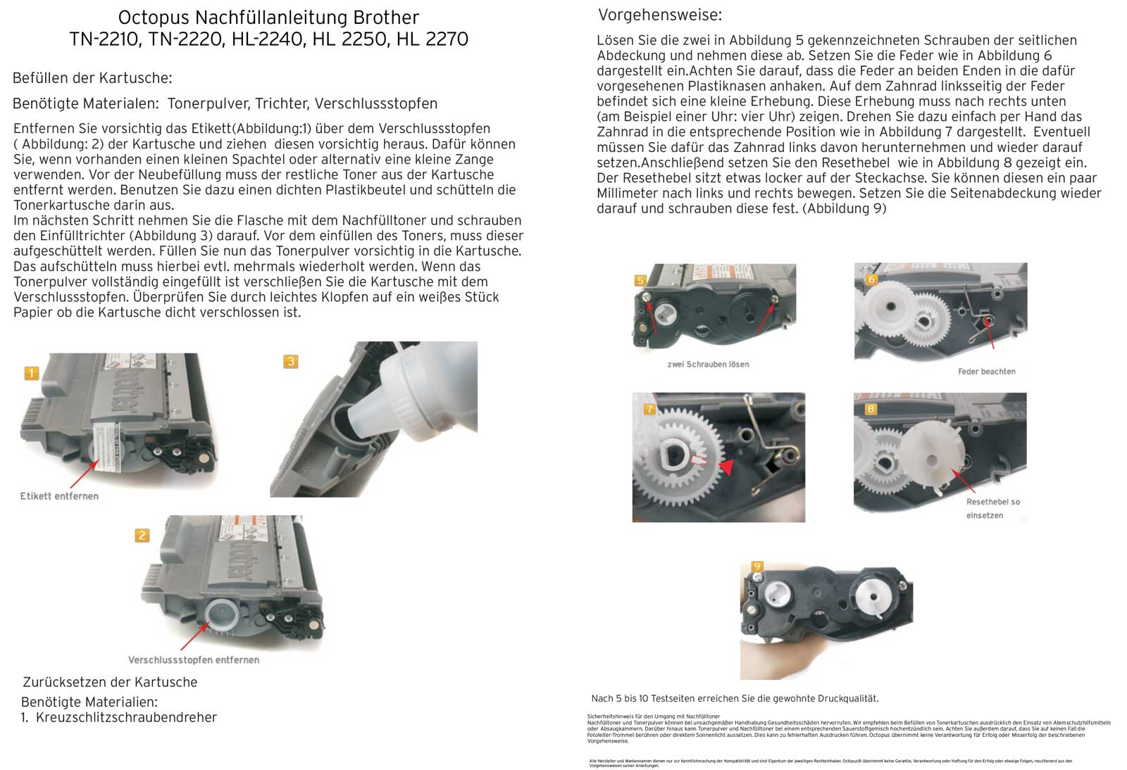 brother hl 2240 toner refill instructions