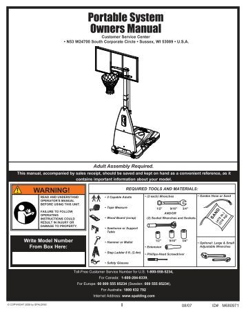 assembly instructions for spalding basketball systems