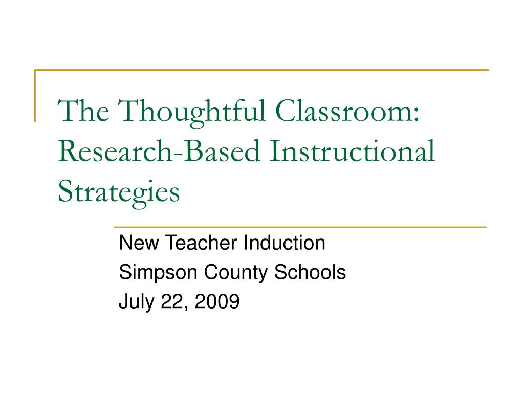 list of research based instructional strategies