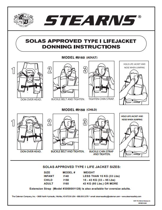 solas life jacket donning instructions